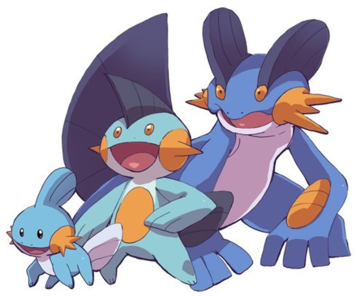 Mudkip, Marshtomp, and Swampert