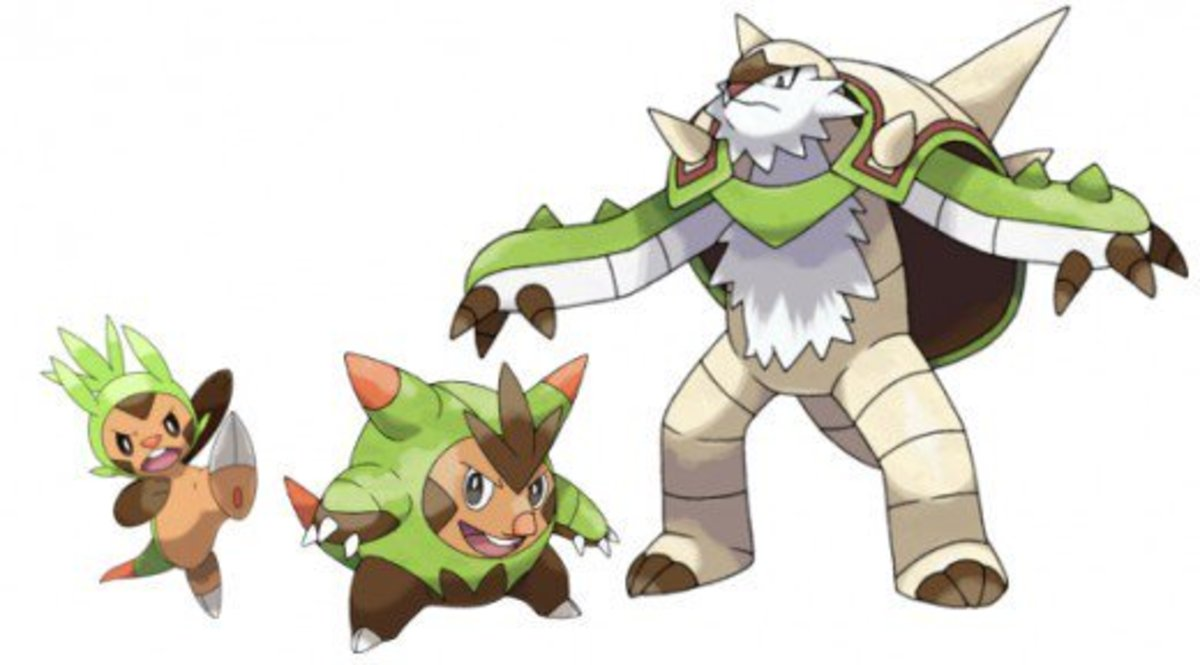 Chespin, Quilladin, and Chesnaught