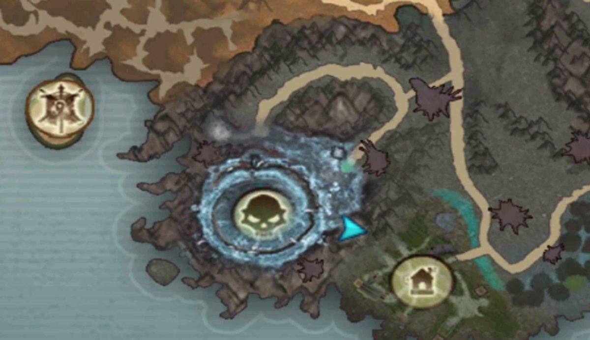Abyssal Lord spawns at the skull, the vendor to upgrade weapons is where the blue arrow is.