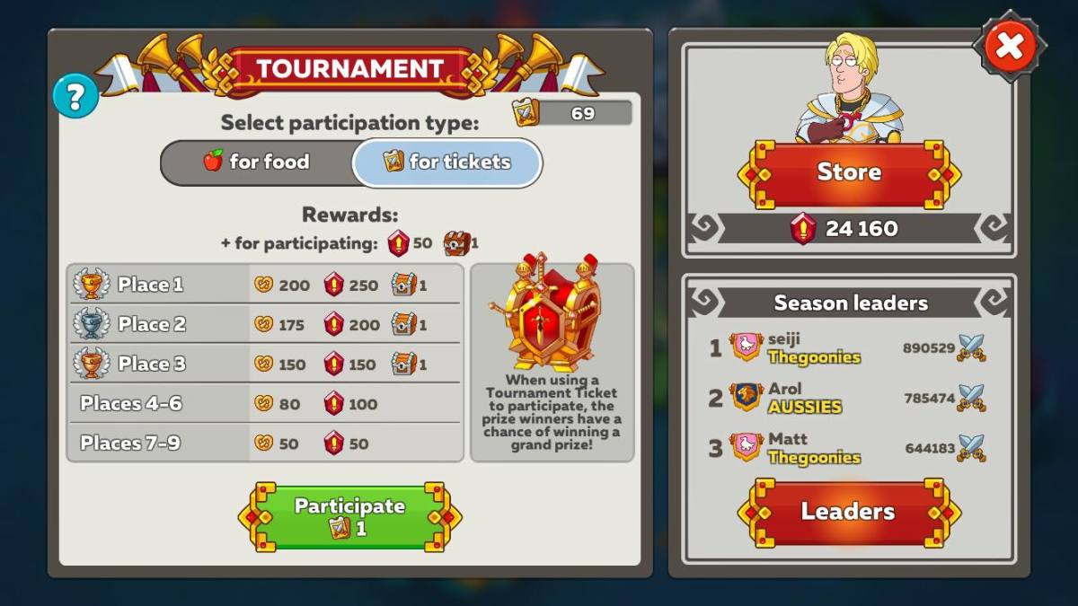 Hustle Castle Arena Tournament Bet