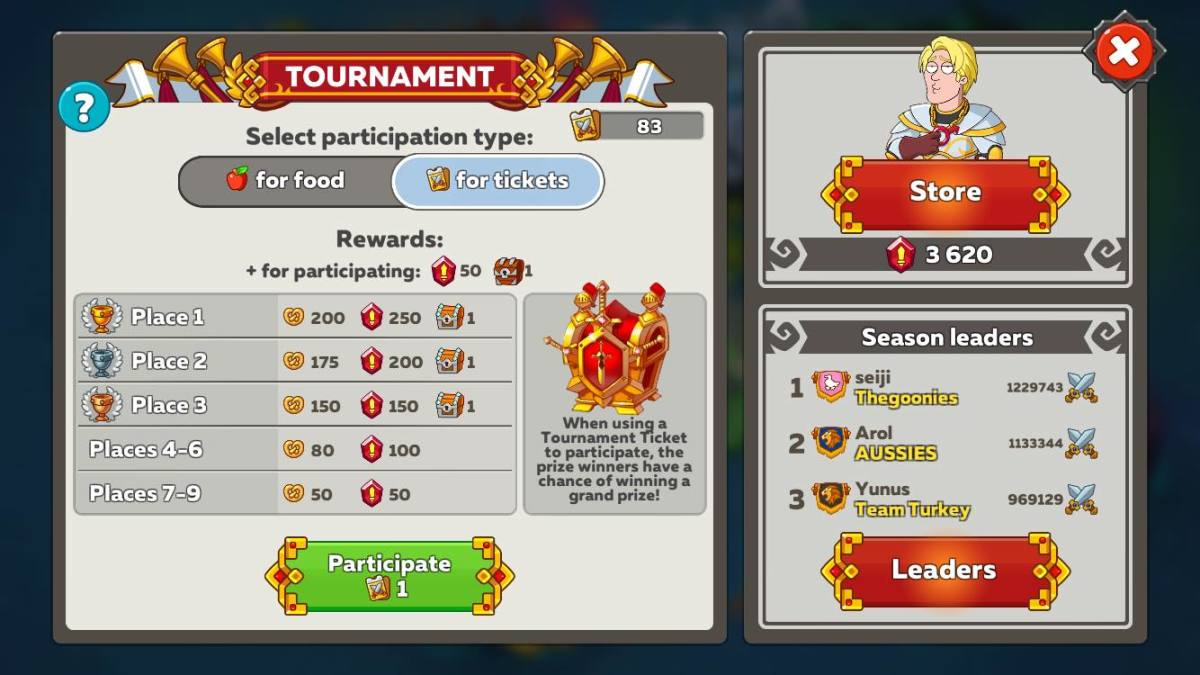 Royal Tournament Chest Reward for Tournament Tickets