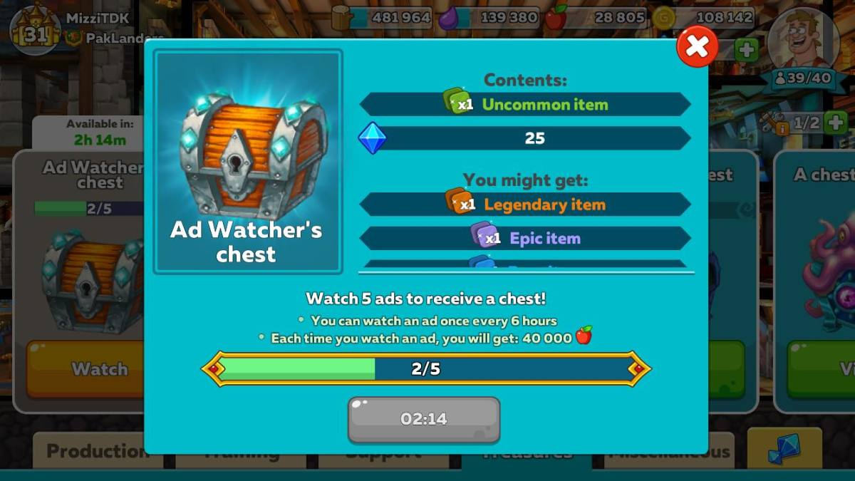 3 More Left to Unlock the Ad Watcher's Chest