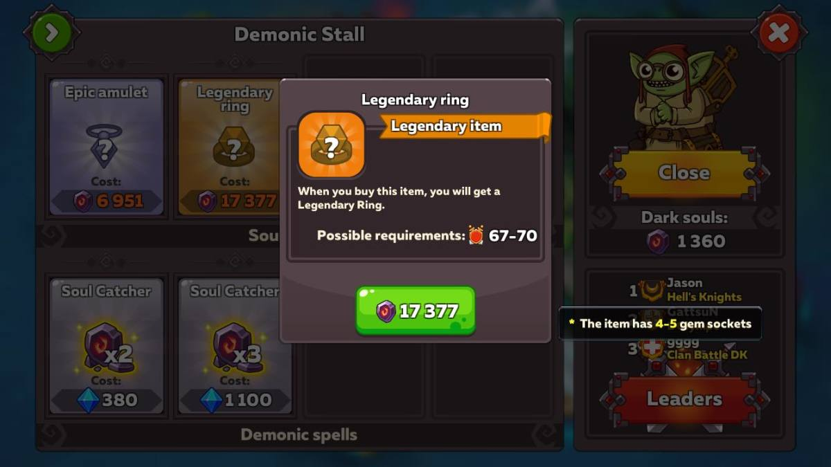 Dark Portal Store Selling Legendary Ring
