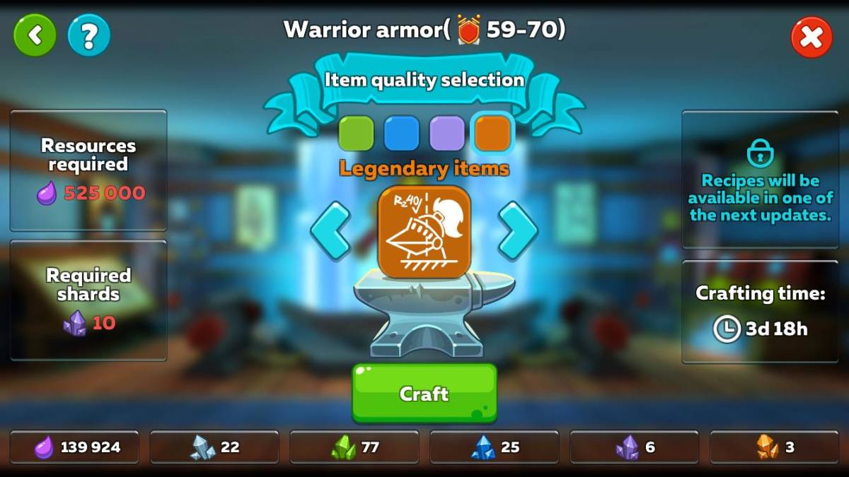 Crafting Legendary Armor for Tank Class