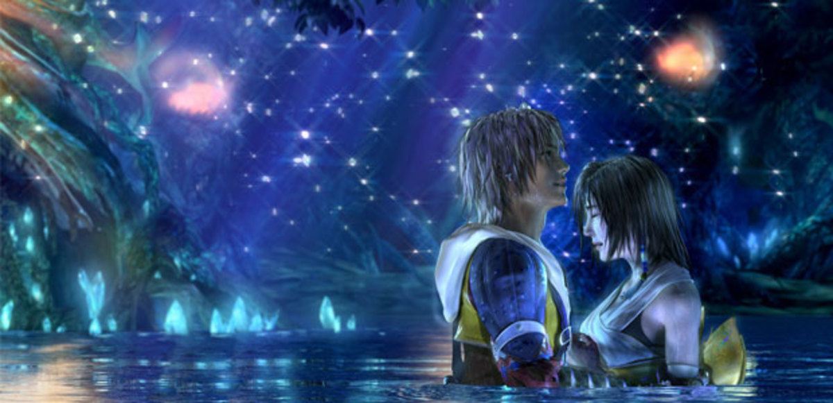 Imagery of the lead couples from both games.