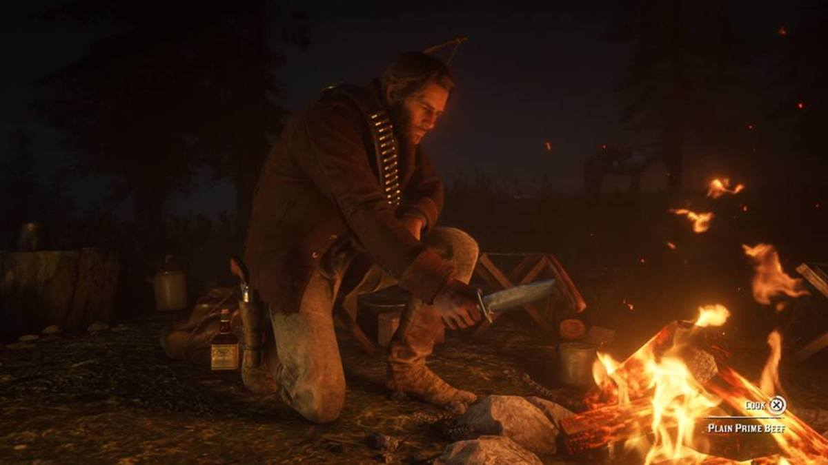 Eating food at a camp in Red Dead Redemption 2