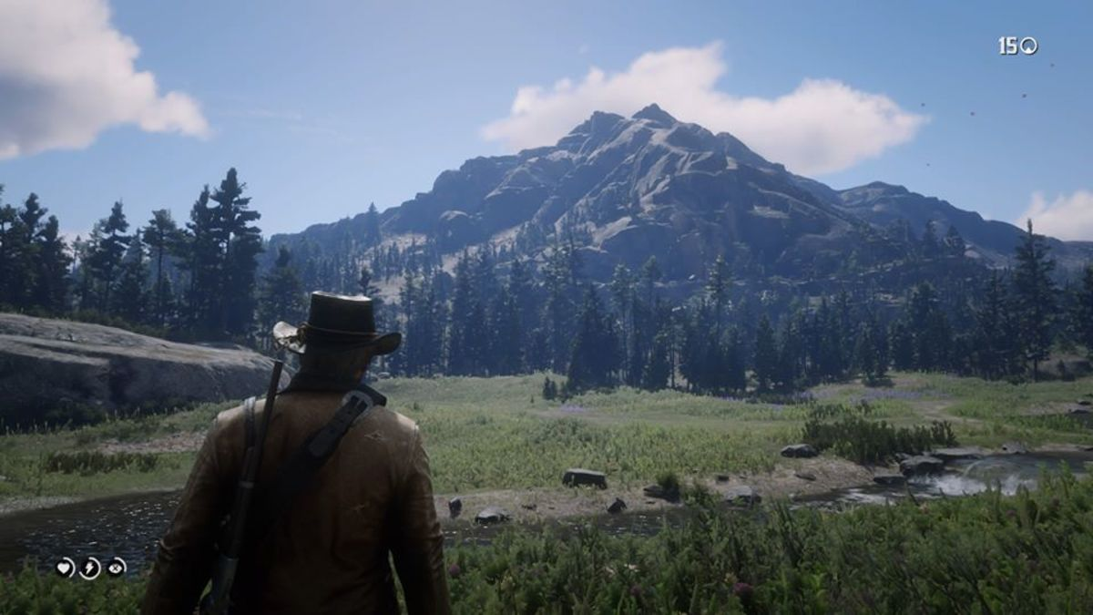 Screenshot of a breath-taking mountain in Red Dead Redemption 2