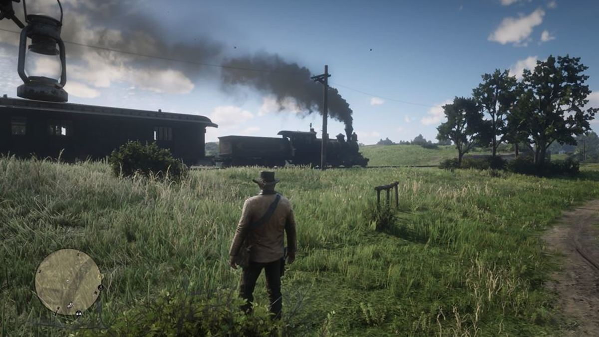 A steam train in Red Dead Redemption 2