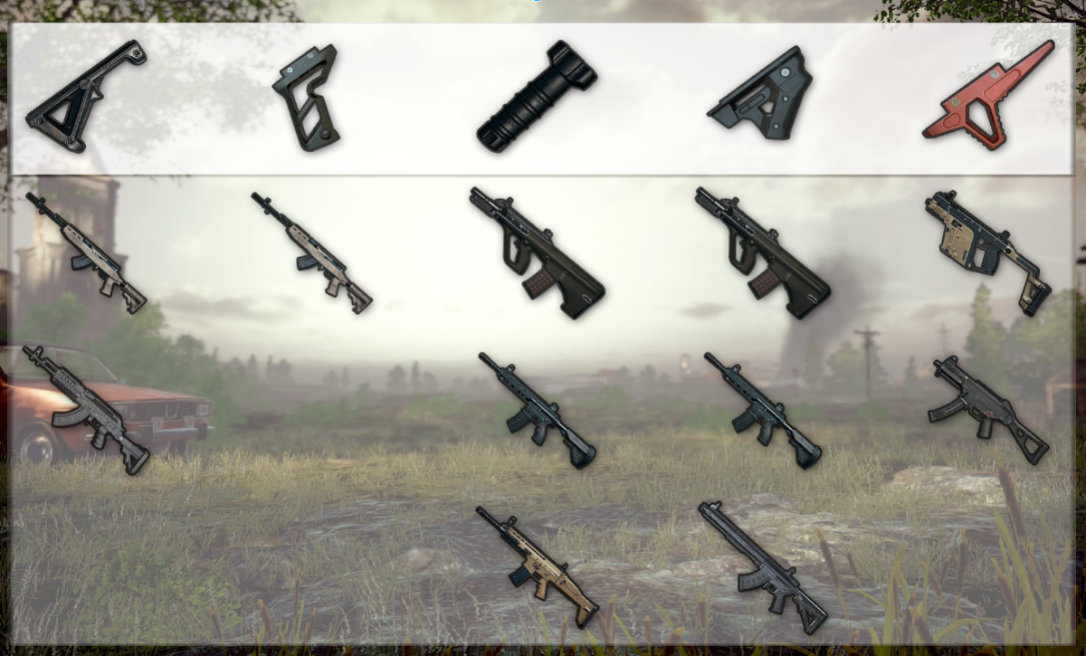 My recommendation for how to attach various weapons. It is worth noting that it's perfectly reasonable to use combinations not shown here, particularly with the vertical and angled grip.