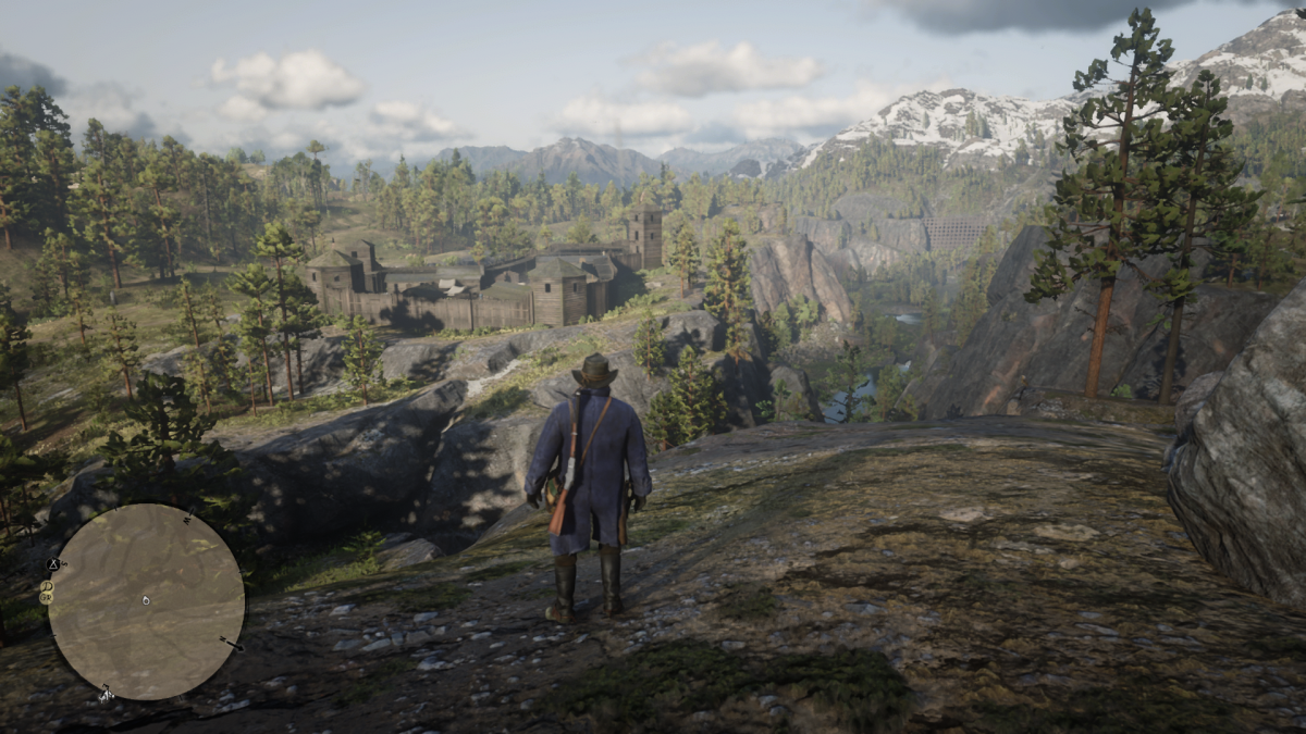 The direction you want to go is BEHIND where Arthur is standing, but I wanted to get a shot of Fort Wallace (plus this view is nice).