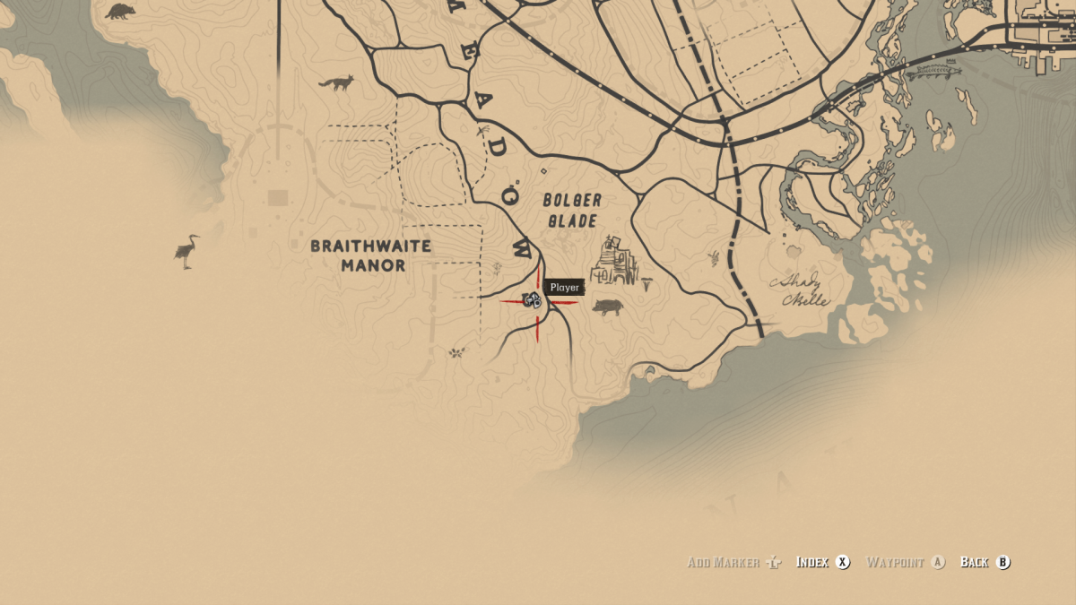 Third victim might not be discovered until Chapter 3 (depending) but is hanging from a unique tree to the East of Braithwaite Manor.