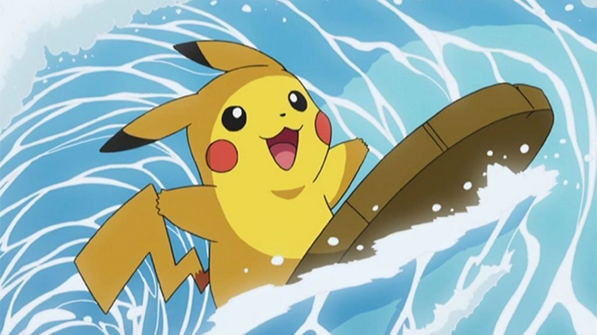 Pikachu using Surf