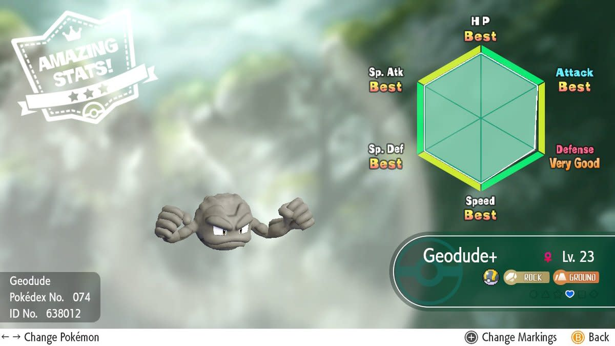 Near max Geodude IVs: so close!