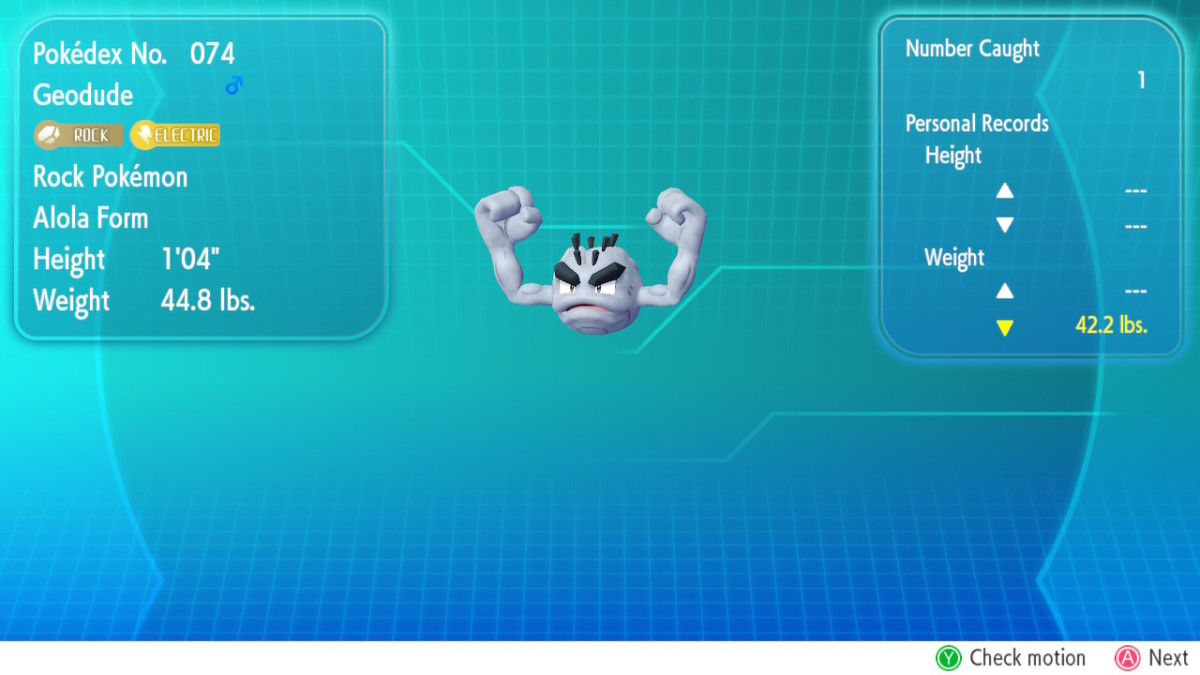 Alolan Geodude, obtained by trading a Kanto Geodude to an NPC.
