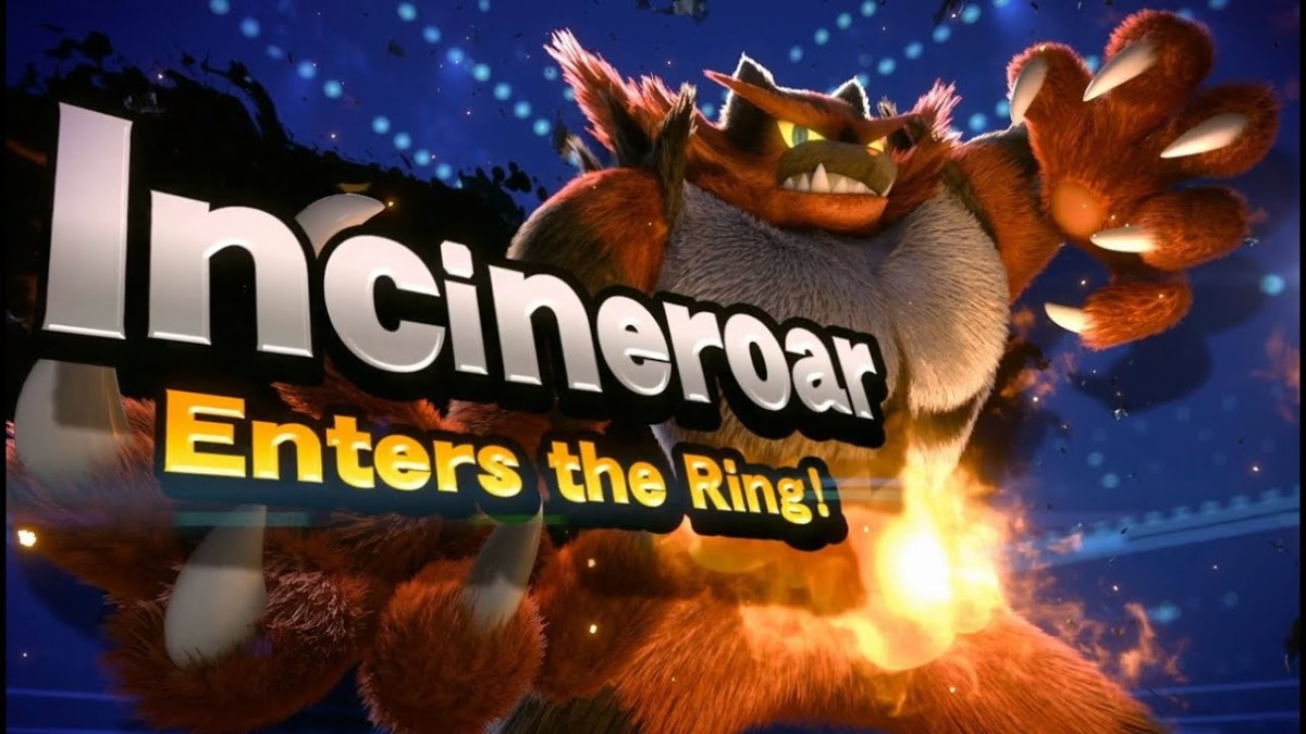 The reveal image to announce Incineroar, of Pokemon Sun and Moon fame has joined Super Smash Brothers Ultimate.