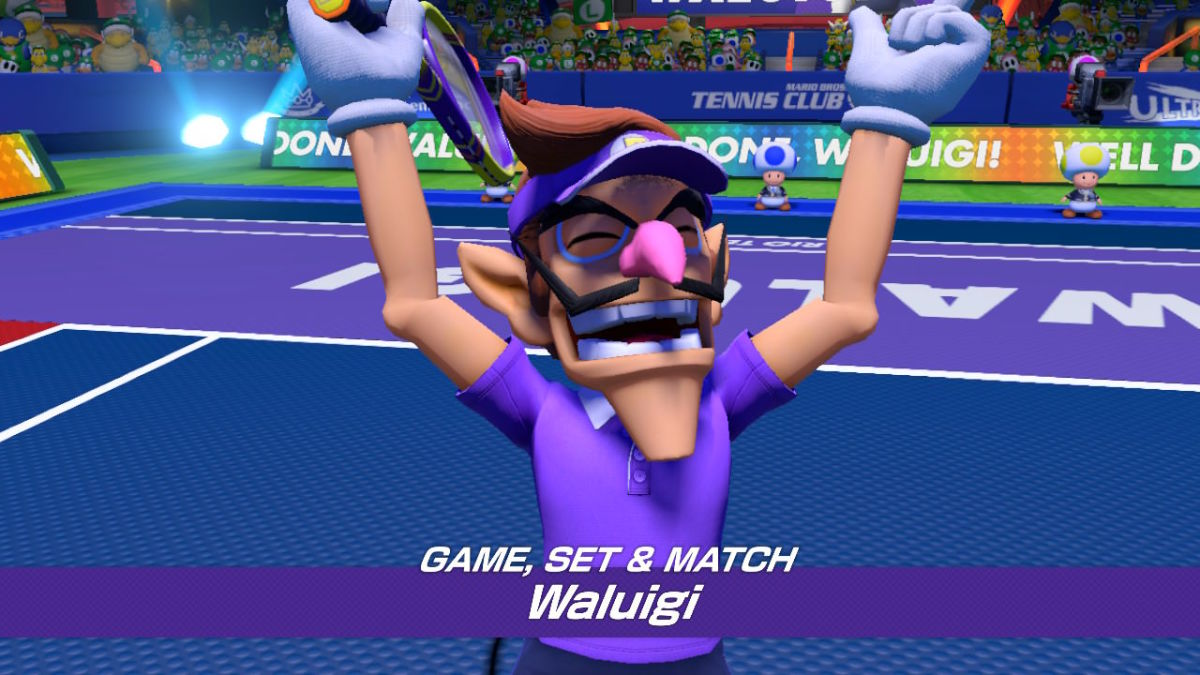 Waluigi doing what he was literally created to do: Play tennis.