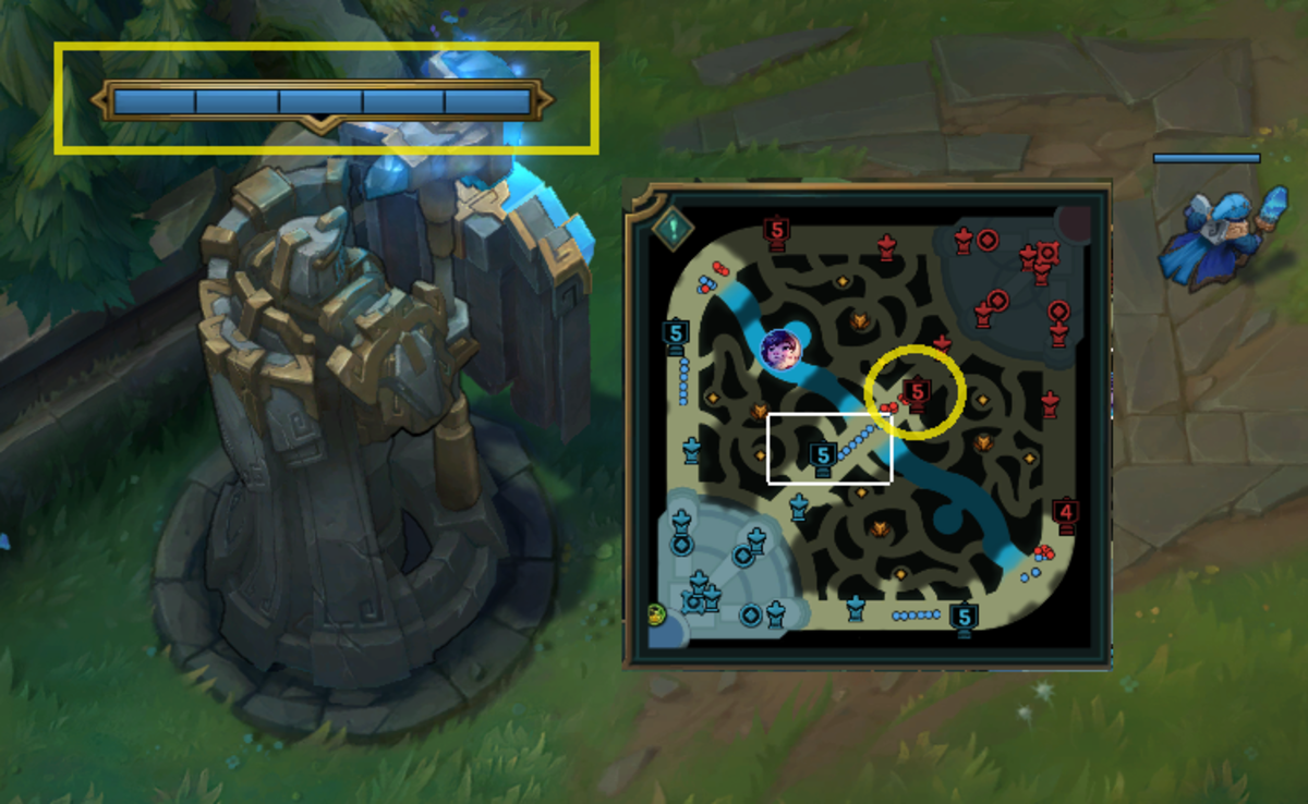 You can see the plate marks on the turrets as well as the count of remaining plates on the minimap.
