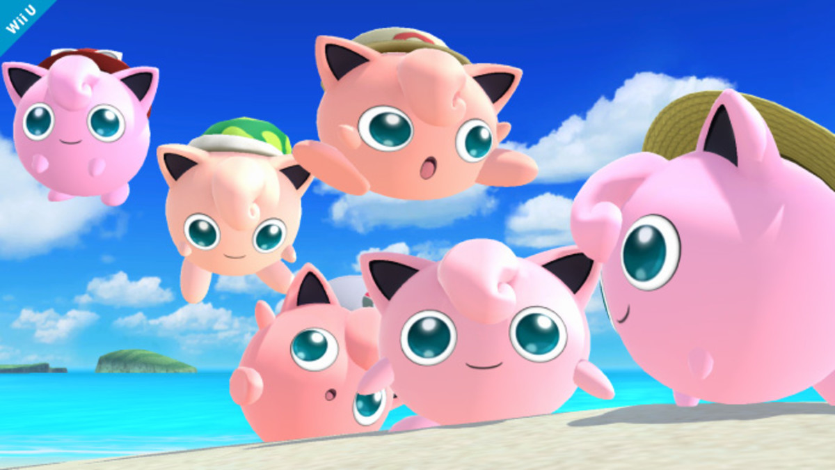 Jigglypuff floating in the air.
