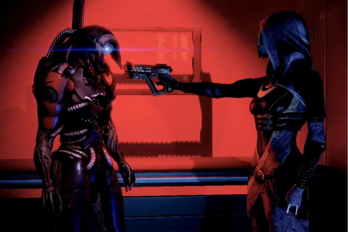 Tali and Legion arguing in Mass Effect 2.