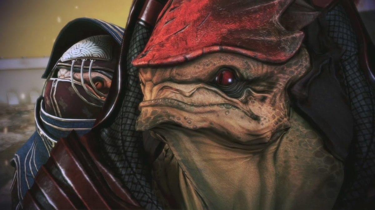 Wrex as he appears in Mass Effect 3.
