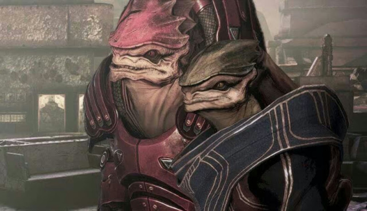 Wrex and Bakara without her hood.