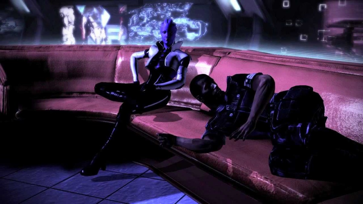 Shepard on Aria's couch.