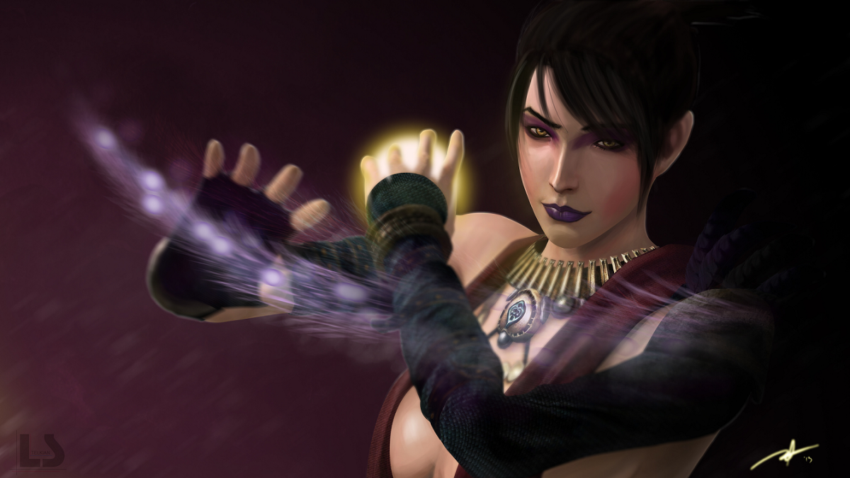"Morrigan is one of the potential mates in ""Dragon Age: Origins"""