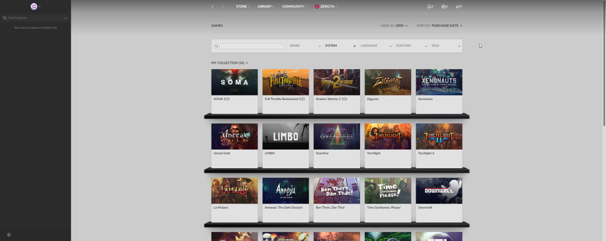 My GOG Galaxy game library.