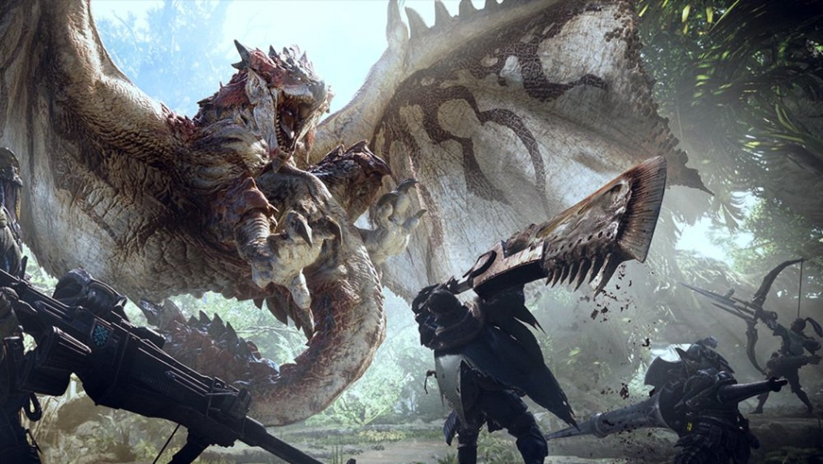 "A Rathalos in ""Monster Hunter: World."""