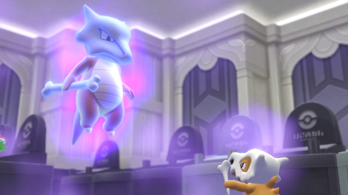 "The ghostly Marowak and her orphaned Cubone, as they appear in Pokemon Tower in the gen 1 remake, ""Pokemon: Let's Go, Eevee/Pikachu."""