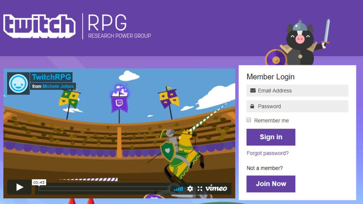 This is the Twitch RPG home page.