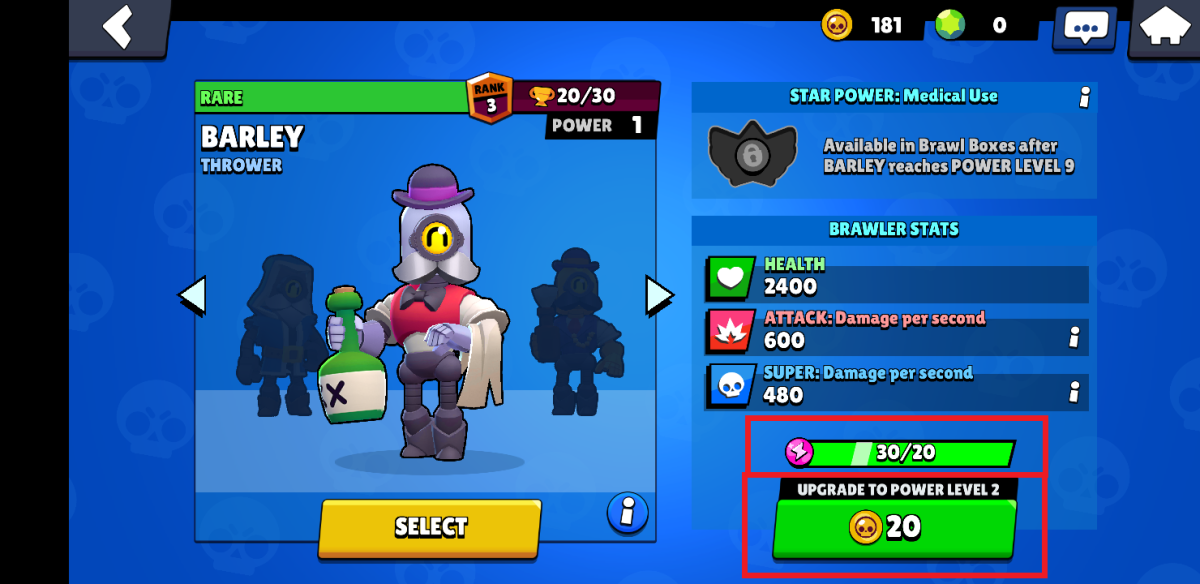 Upgrading Brawlers With Power Points & Coins