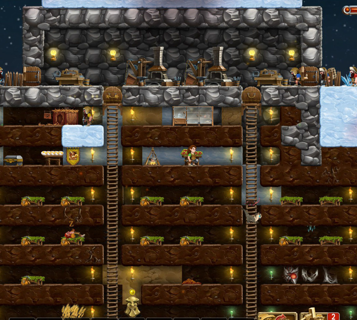 ...and here's an example of a rudimentary shelter I built in the second world.  As you can see, the dwarves live below ground (notice the totem at the bottom of the screen) and craft above ground, for quick/easy access back to the stockpile.