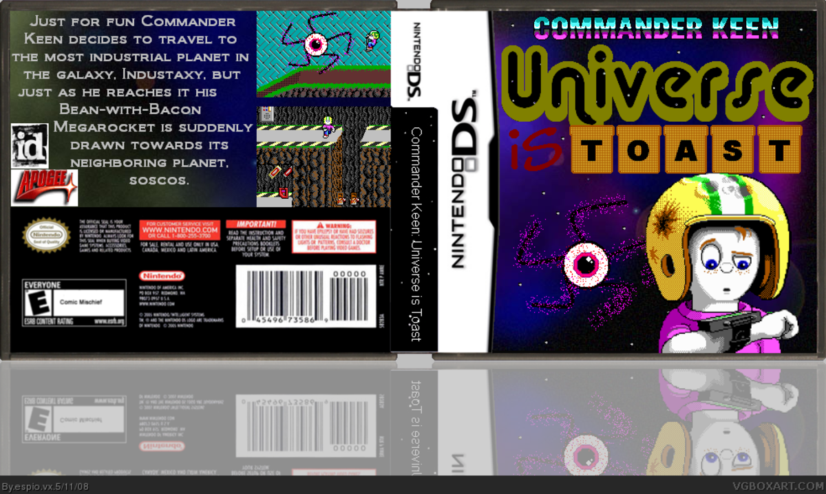 Fan-made concept box art for Commander Keen in The Universe is Toast! for Nintendo DS. Note: This game was originally meant to be released on PC.