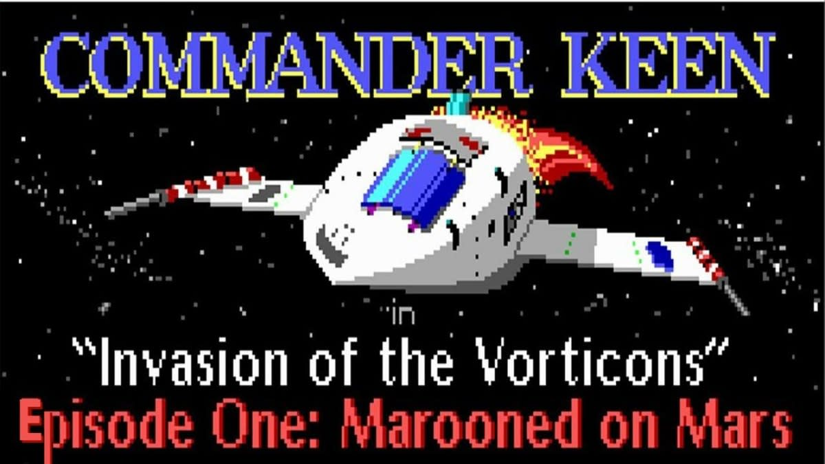 Title Screen for Commander Keen in Invasion of the Vorticons, episode 1 Marooned on Mars