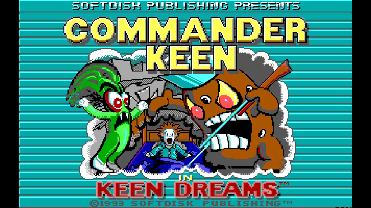 Title screen for Commander Keen in Keen Dreams (screenshot from Nintendo Switch version).