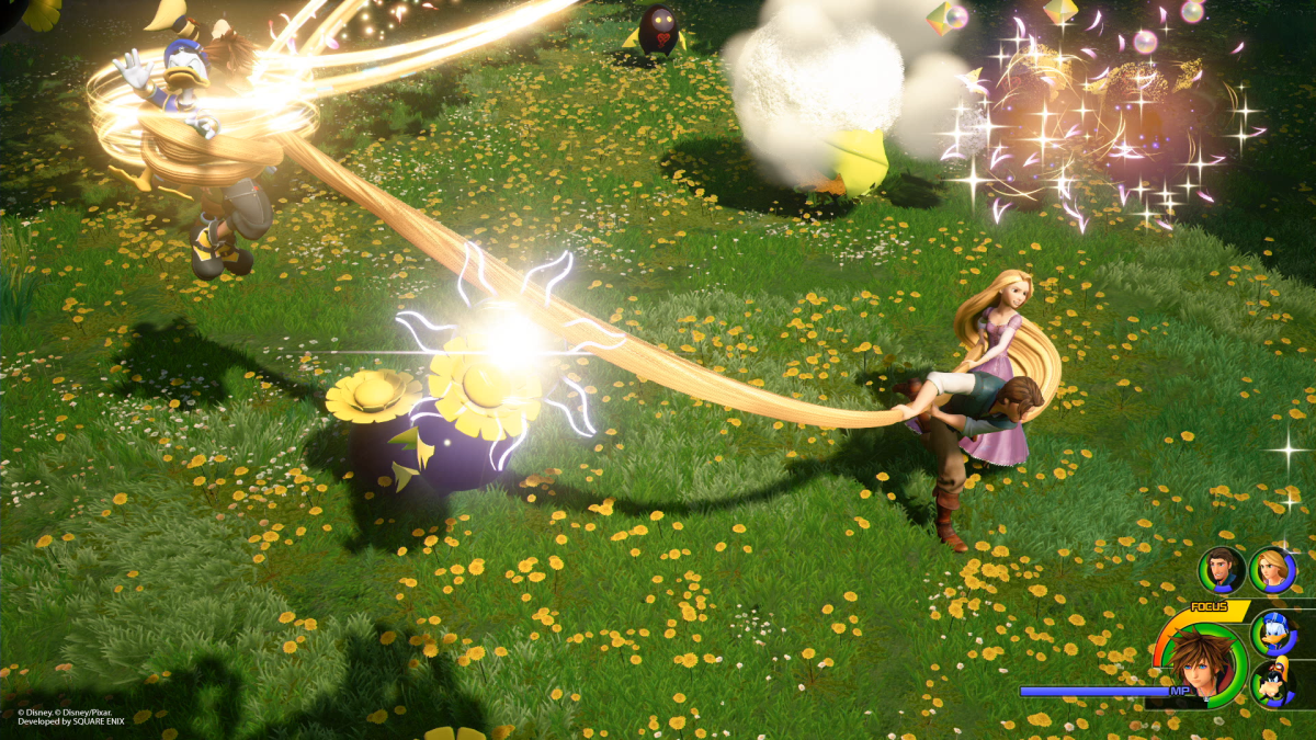 Disney's Rapunzel fighting Heartless in a team attack with Sora, Donald, and Goofy.