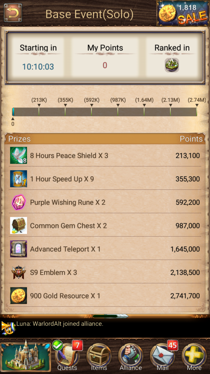 Event Rewards