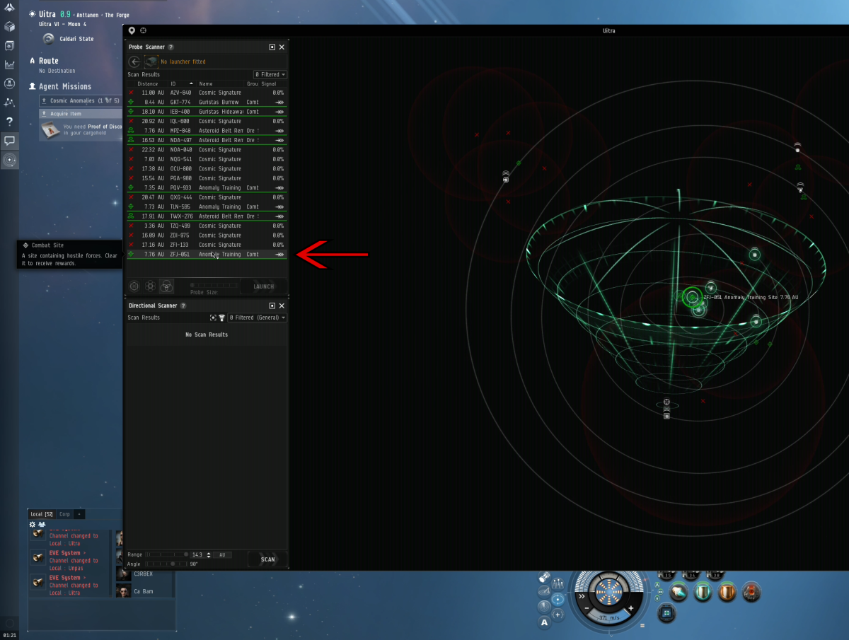 The probe scanner window opened with the Training Combat Anomaly sight highlighted buy the arrow.