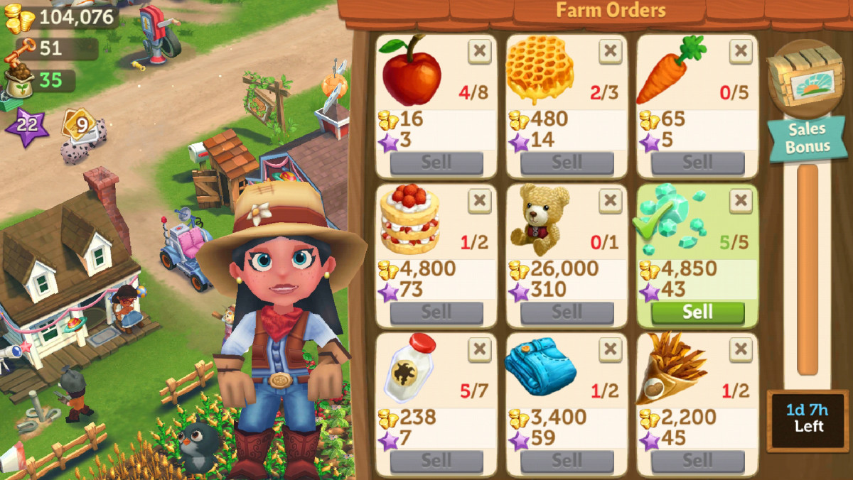 Get quick cash and bonus goods from fulfilling orders on the Farm Orders board!