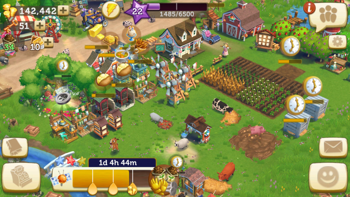 My bustling farm at work!  Notice how everything is working to produce, from workshops to animals!