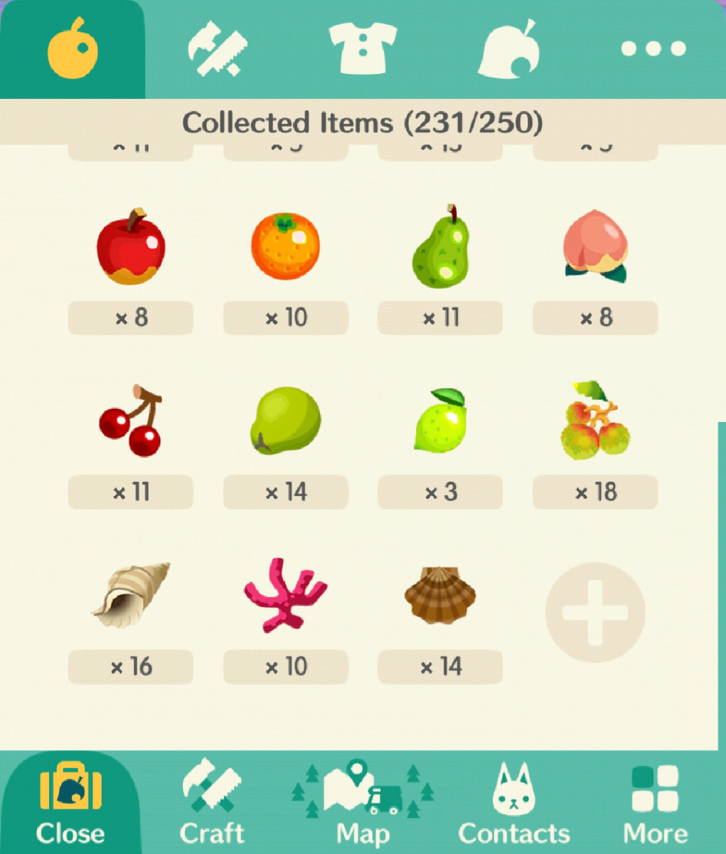 Try to keep at least 10 of each fruit, fish, bug and shell!