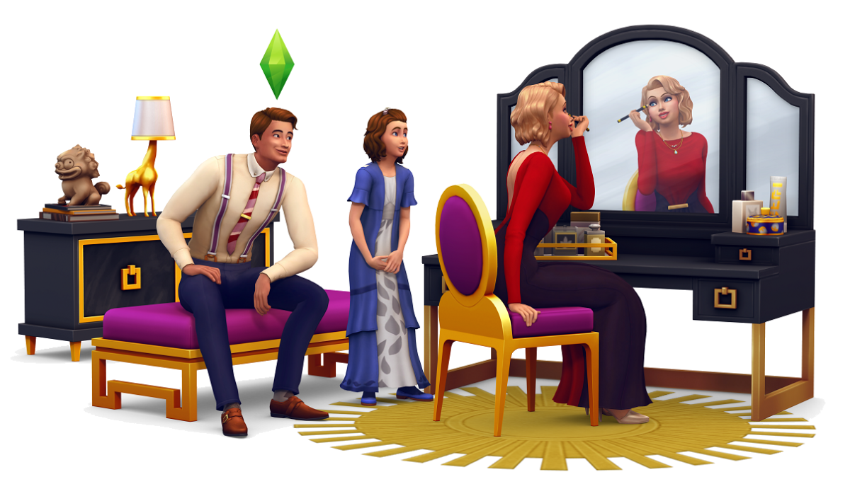 That hair!  That vanity!  That side table!  That...giraffe...lamp?  Oh well, I love everything included in The Sims 4 Vintage Glamour Stuff Pack.