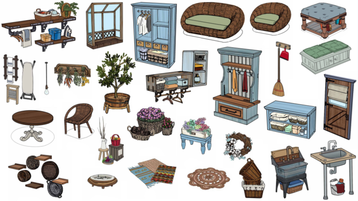 An illustration of all the objects that fans voted for to be The Sims 4 Laundry Day Stuff Pack.