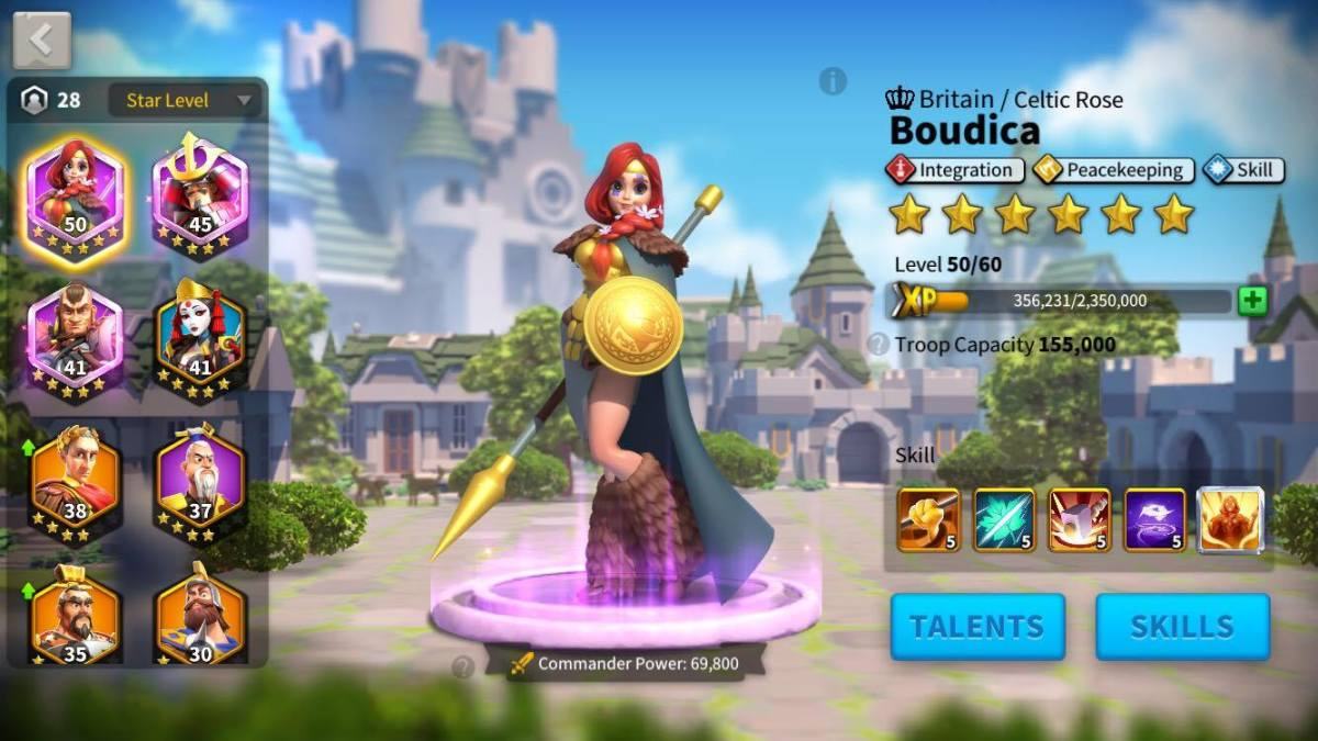 Rise Of Kingdoms Commander Power for Lvl 50 Boudica with skills maxed out