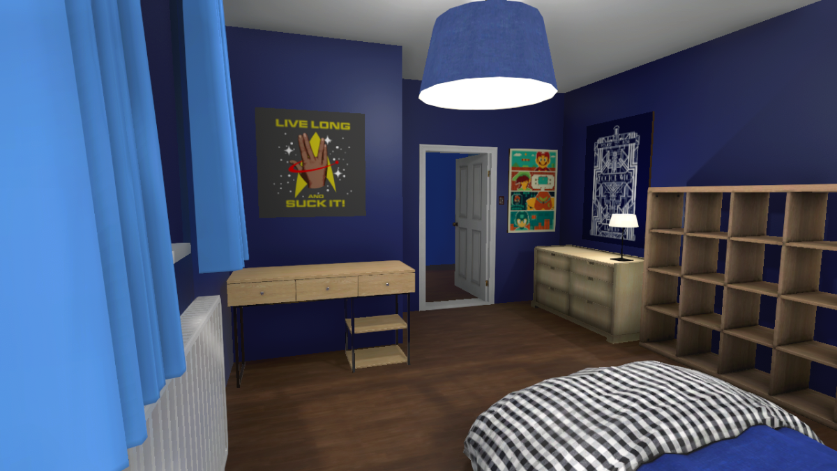 "A ""nerdy"" teenage boy bedroom I designed in the game."