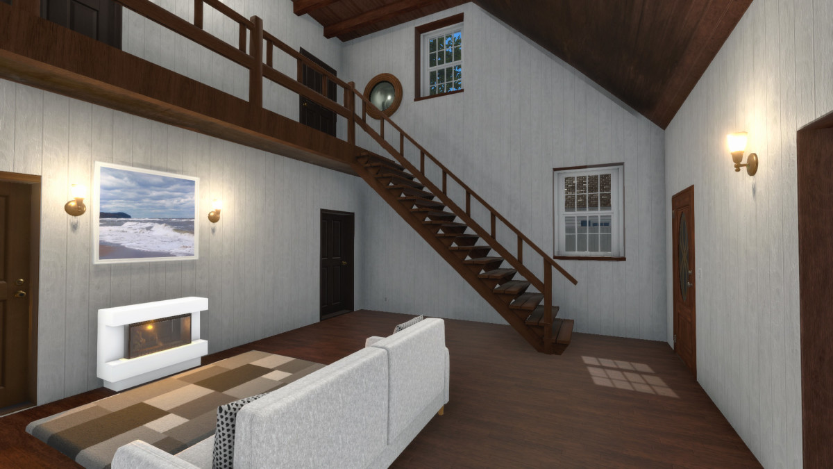 """A screenshot of a redesigned house from the """"HGTV"""" DLC."""