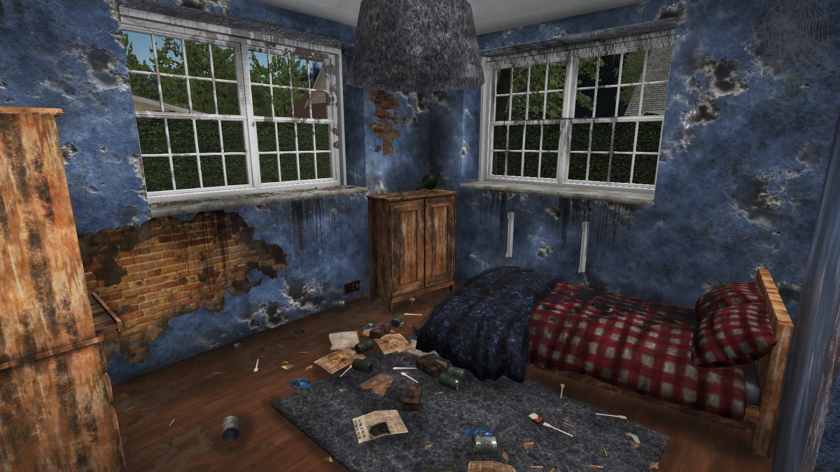 A ruined house for you to renovate in House Flipper.