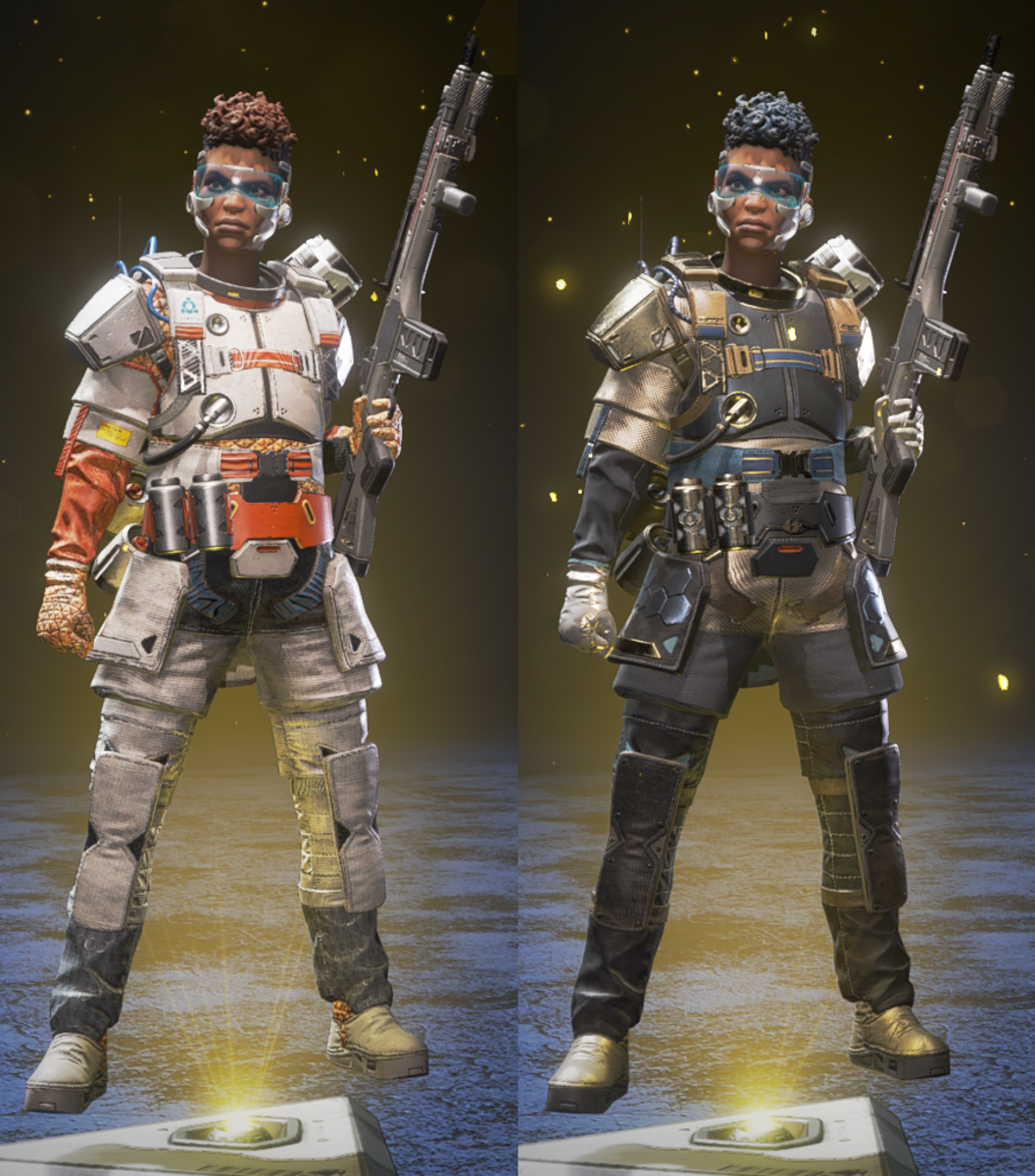 """The left version is the default version of the Legendary skin """"The Spacewalker"""" whereas on the right is the re-colored version available for purchase with Legend Tokens if you already own The Spacewalker."""
