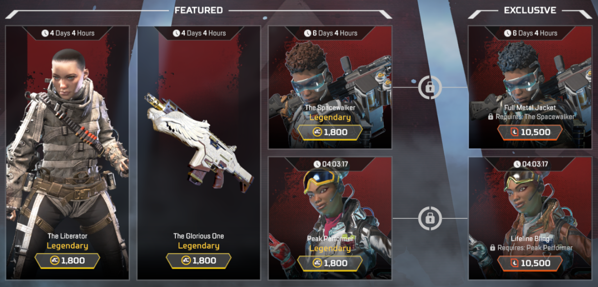 Weekly skin re-colors available for 10,500 Legend Tokens